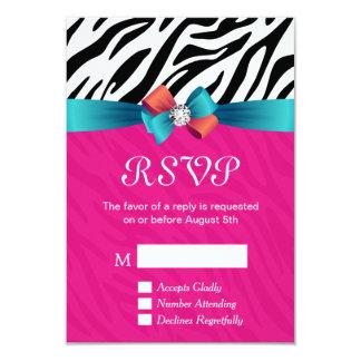 UAWG Karte - nobler heißes Rosazebra-Druck 8,9 X 12,7 Cm Einladungskarte