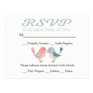 UAWG rosa u. blaue Lovebirds, die Party Wedding Postkarte