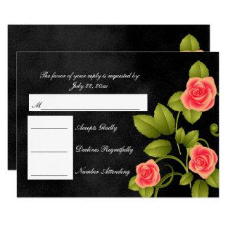 UAWG schwarze Tafel-und Korallen-Rosen-Hochzeit Karte