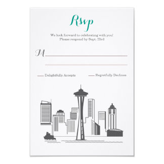 UAWG Seattleskyline-Hochzeit 8,9 X 12,7 Cm Einladungskarte