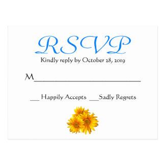 UAWG Sonnenblume-blaue Blumenhochzeits-Postkarte Postkarte