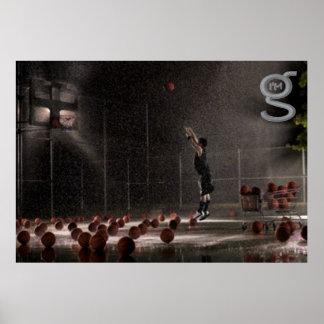 Üben im Regen - Basketball-Plakat