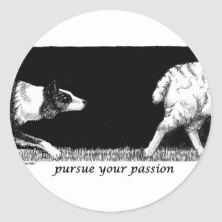 Üben Sie Ihre Leidenschaft Border-Collie aus Runder Aufkleber