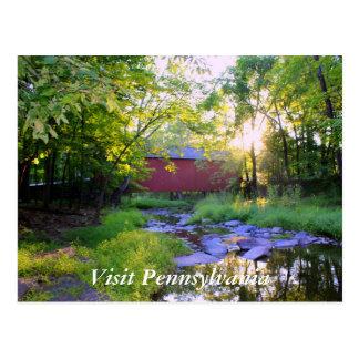 Überdachte Brücke in Pipersville Postkarte