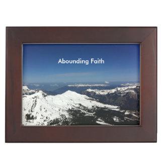 Überfluss habender Glauben-Gebirgsandenken-Kasten Erinnerungsdose
