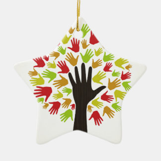 Übergeben Sie ein tree2 Keramik Ornament