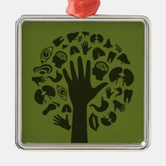 Übergeben Sie ein tree3 Silbernes Ornament