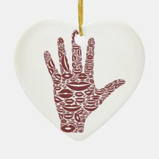 Übergeben Sie eine Lippe Keramik Ornament