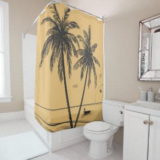 Übergeben Sie gezeichnete Palmen und Strand Duschvorhang