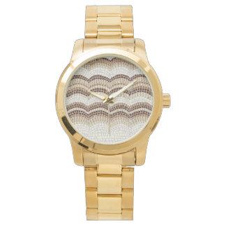 Übergroße das Armband-Uhr der beige Mosaik-Frauen Uhr