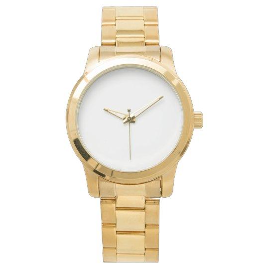 Custom Übergroße goldene Unisex Armbanduhr