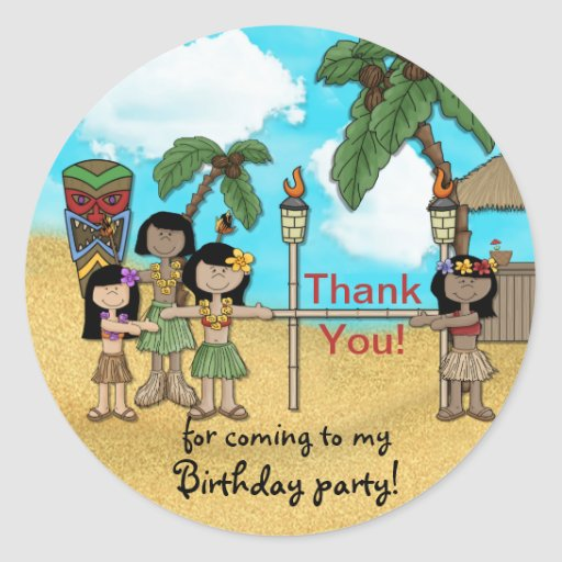 ÜberhangsLuau Geburtstags-Party - danke Aufkleber