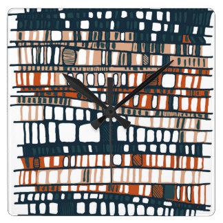 Überlagert Terrakotta Quadratische Wanduhr