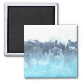 Überlagerte Blues-abstrakte Malerei Quadratischer Magnet