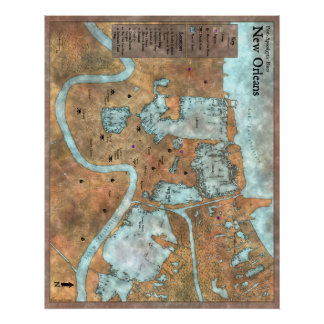Überlandstadt-Karte: Posten-Apokalyptische Blues Poster