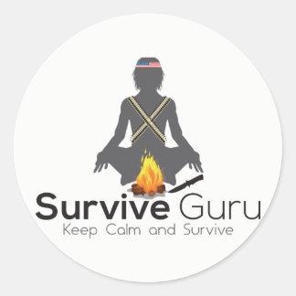 Überleben Sie Guru-Aufkleber Runder Aufkleber