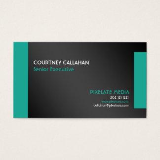 Überlegenes Marketings-Schwarzes mit Aquaakzenten Visitenkarte