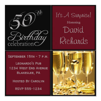 Überraschen Sie 50. Geburtstags-Party Burgunder u. Quadratische 13,3 Cm Einladungskarte
