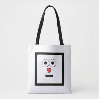 Überraschtes Gesicht mit Herz-Nase Tasche