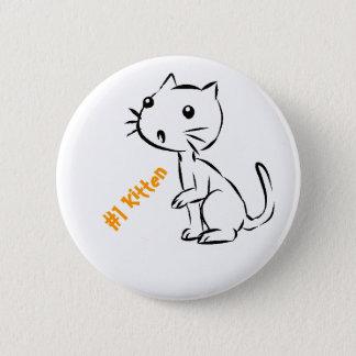 Überraschtes Kätzchen #1 Runder Button 5,7 Cm