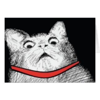 Überraschtes Katzen-Keuchen Meme - Gruß-Karte