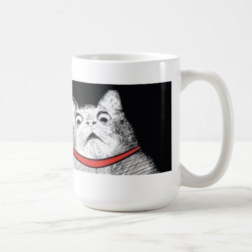 Überraschtes Katzen-Keuchen Meme - Tasse