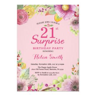 Überraschungs-Blumen21. Geburtstags-Einladung für 12,7 X 17,8 Cm Einladungskarte