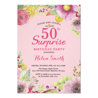 Überraschungs-Blumen50. Geburtstags-Einladung für 12,7 X 17,8 Cm Einladungskarte