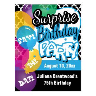 Überraschungs-Geburtstags-Party in Blau | Save the Postkarte