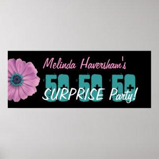 Überraschungs-Geburtstags-Party-Rosa-Gänseblümchen Plakatdruck