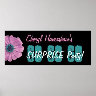 Überraschungs-Geburtstags-Party-Rosa-Gänseblümchen Posterdruck