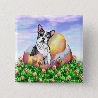 Überraschungs-Knopf Bostons Terrier Ostern Quadratischer Button 5,1 Cm