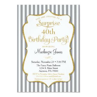 Überraschungs-Party Einladungs-graues graues Gold Karte