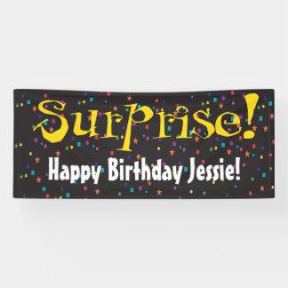 Überraschungs-Party mit Confetti Banner