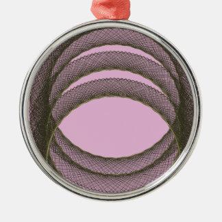 überschneidenkreise im lila Hintergrund abstrakt Silbernes Ornament