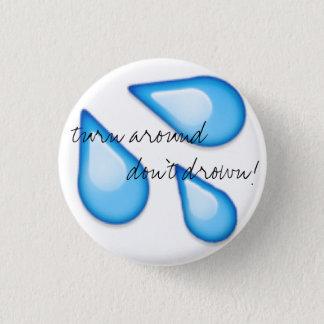 Überschwemmung Emoji Sicherheit Runder Button 2,5 Cm