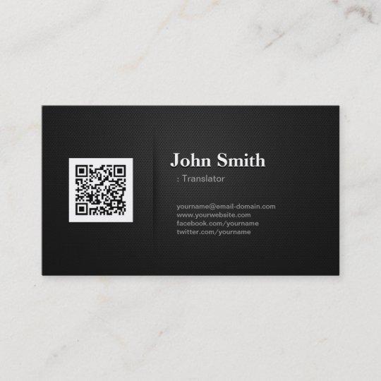 übersetzer Erstklassiger Code Des Schwarz Qr Visitenkarte