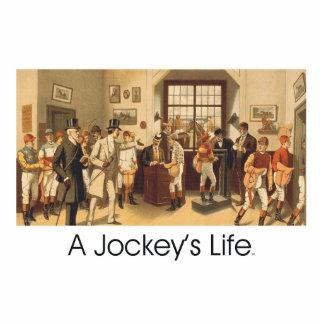 ÜBERSTEIGEN Sie das Leben eines Jockeys Freistehende Fotoskulptur