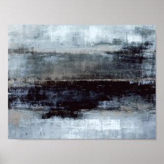 """""""Übertrieb"""" blaue abstrakte Kunst-Malerei Poster"""