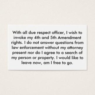 Überwachen Sie 5. Änderungs-Karten polizeilich Visitenkarte