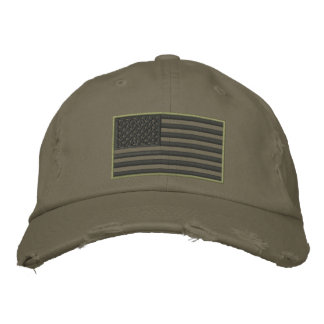 Überwundener gestickter Hut Farbe-US Flagge Bestickte Baseballkappe
