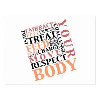 Übungs-Liebe-Respekt füttert Ihre Körper-Postkarte Postkarte