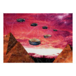 UFO-Fliege über alienpyramiden Plakatdruck