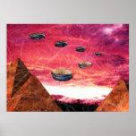UFO-Fliege über alienpyramiden Poster