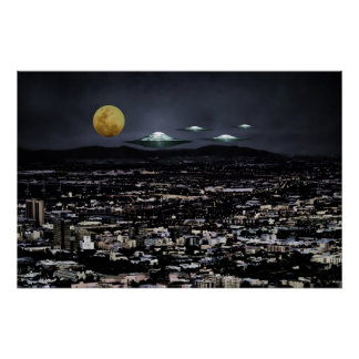 UFO-Flugobjekt im Raum Poster