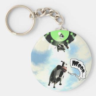 UFO-Kuh-Abduktion Keychain Standard Runder Schlüsselanhänger
