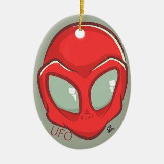 UFO-roter galaktischer Marsalien-Kopf Keramik Ornament