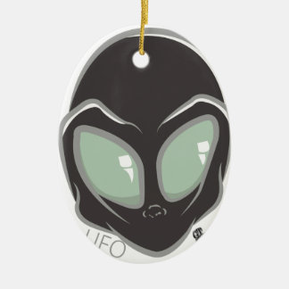 UFO-schwarzer galaktischer Marsalien-Kopf Keramik Ornament