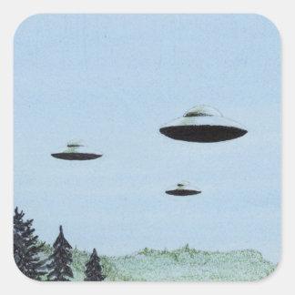 UFO-Trio Quadratischer Aufkleber