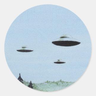 UFO-Trio Runder Aufkleber